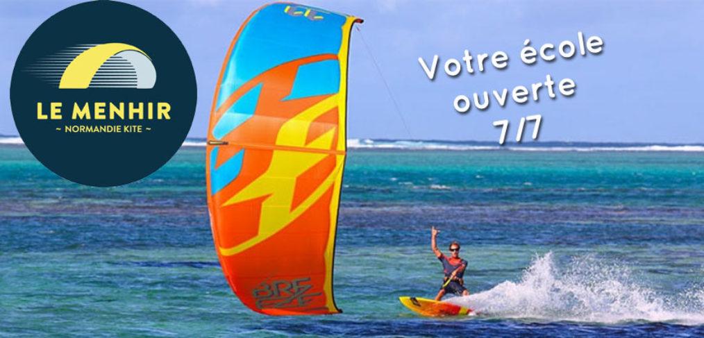 L'école de kitesurf Le Menhir Normandie Kite est ouverte