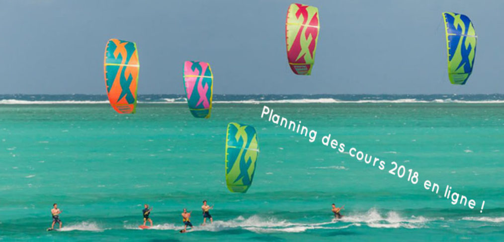 Planning des cours de kitesurf 2018